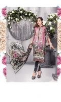 03 pcs unstitched digital printed & embroidered Linen with digital printed Chiffon dupatta