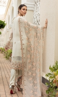 Chiffon Embroidered Front Chiffon Plane Back Chiffon Embroidered Sleeves Organza Embroidered Front & back & Sleeve Lace Embroidered Chiffon Dupatta (2.5 mtr) Trouser Motifs Dyed Trouser (2.5 mtr)