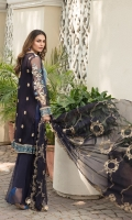 Chiffon Embroidered Front Chiffon Embroidered Back Chiffon Embroidered Sleeves Organza Embroidered Front & back & Sleeve Lace Embroidered Chiffon Dupatta (2.5 mtr) Dyed Trouser (2.5 mtr)