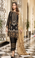 Chiffon Embroidered Front Chiffon Plane Back Chiffon Embroidered Sleeves Organza Embroidered Front & back & Sleeve Lace Embroidered Chiffon Dupatta (2.5 mtr) Dyed Trouser (2.5 mtr)