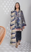 Printed Fine Lawn Shirt, Printed Fine Voile Dupatta, Dyed Cotton Trouser.