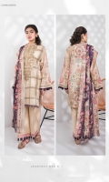 Printed Textured Lawn Shirt, Printed Textured Voile Dupatta, Dyed Cotton Trouser.