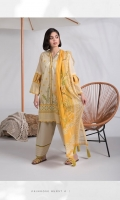 Printed Fine Lawn Shirt Shirt, Printed Textured Voile Dupatta and Dyed Cotton Trouser.