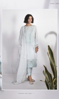 Dyed Embroidered Fine Lawn Shirt, Dyed Blended Organza Jacquard Dupatta, Dyed Cotton Trouser