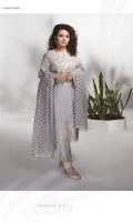 Dyed Embroidered Fine Lawn Shirt, Dyed Blended Organza Jacquard Dupatta and Dyed Cotton Trouser .