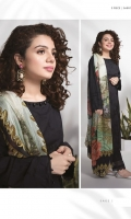Dyed Embroidered Dobby Shirt, Digital Printed Bember Tissue Dupatta and Dyed Cotton Trouser.