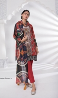 Printed Textured Lawn Shirt Front Printed Textured Lawn Shirt Back Printed Textured Lawn Shirt Sleeve Printed Textured Voile Dupatta Dyed Cotton Trousers