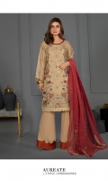 Embroidered Shabnam Zari Net Shirt Front Dyed Extra Weft Jacquard Dupatta Dyed Viscose Raw Silk Trouser
