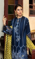 Dyed Embroidered Slub Lawn Shirt, Dyed Organza Jacquard Dupatta Dyed Cotton Trouser.