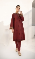Shirt Dyed Embroidered Cotton Shirt Front 1.15 m Dyed Cotton Shirt Back 1.15 m Dyed Embroidered Cotton Shirt Sleeves 0.7 m Embroidered Neckline 1 PC Embroidered Pockets 2 PC Color: Maroon Fabric: Cotton  Trouser Dyed Cotton Trouser 2.5 m Color: Maroon Fabric: Cotton