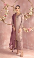 """Shirt: Pure shimmer cotton net shirt featuring dabka, stones, multi shaded pearls and beads and contrasting thread embroidery. Shirt Color: Mauve Shirt Length: 40""""  Culottes : Lace culottes featuring pearl and bead work Culottes  Color: Mauve  Dupatta: Pure Organza net dupatta featuring lace and hand crafted tassel details finished with brocade edging Dupatta Color: Dark Mauve"""