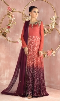 """Gown: Pure lorex voile ombre dyed crushed gown featuring beautiful 3D hand crafted floral, beads, sequins, antique gold kora, dabka and pearls embroidery Gown Color: Rust and Burgundy Gown length: 58"""" (can be customized mention in custom box if required) Waist: 30(XS), 32(S), 34(M), 38(L), 41(XL)  Dupatta: Pure Chiffon dupatta featuring hand crafted motifs, finished with gota edging. Dupatta Color: Burgundy"""