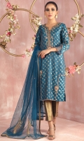 """Shirt: Jamawar straight silhouette shirt featuring antique gold and silver dabka, pearls, sequins, beads and gota embroidery Shirt Color: Blue Shirt Length: 40"""" Sleeve Length: 18""""  Pant: Brocade pants with side slit and hand embroidery details Pant Color: Dull Gold  Dupatta: French net dupatta featuring applique work motifs and sequin floral all over. Dupatta Color: Blue"""