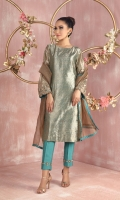 """Shirt: Pure tissue straight shirt featuring bronze and silver kora, dabka, sequins, beads and silk thread embroidery on sleeves Shirt Color: Teal Green Shirt Length: 40""""  Pant: Khaadi silk straight pants featuring hand crafted embroidery border Pant Color: Teal Green  Dupatta: Pure shimmer net dupatta featuring teal gota manipulation border Dupatta Color: Bronze Gold"""