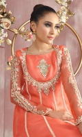 """Shirt: Pure organza net lace infused multi panel shirt featuring ivory and gold silk thread embroidery further enhanced with hand crafted floral, beads and stone work. Shirt Color: Coral Shirt Length: 42""""  Pant: Brocade straight pants Pant Color: Coral  Dupatta: Pure lorex chiffon dupatta finished with brocade edging Dupatta Color: Pale Ivory"""