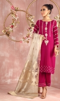 """Shirt: Velvet straight silhouette shirt featuring pearl white, silver and gold kora, dabka, pearls, beads and silk thread embroidery Shirt Color: Pink Shirt Length: 40"""" Sleeve length: 18""""  Culottes : Velvet culottes with handwork details Culottes  Color: Pink    Dupatta: Pure Tissue Zari work dupatta Dupatta Color: Ivory, gold and Silver"""