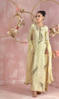 """Shirt: Pure Lorex voile Kaftan inspired long silhouette stylish shirt featuring antique gold dabka, pearls, beads and contrasting silk thread embroidery Shirt Color: Lemon Shirt Length: 55"""" (can be slightly customized mention in custom box if required)  Pant: Brocade straight pants. Pant Color: Lemon        Dupatta: Pure organza net crush dupatta featuring gota manipulation and edging all over. Dupatta Color: Lemon"""