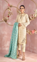 """Shirt: Pure embroidered karandi shirt featuring multi-color thread and gota work on shirt bottom, Cotton net back featuring Zardozi work applique motif and small motifs all over, lace and fabric manipulation on sleeves and neckline for additional style Shirt Color: Pastel Yellow Shirt Length: 40""""  Pant: Khaadi silk straight pants with lace and fabric manipulation Pant Color: Pastel Yellow   Dupatta: Pure atlas silk dupatta with gota edging and gold brocade finishing Dupatta Color: Cyan"""