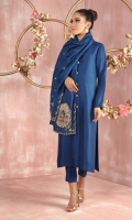 """Shirt: Pure Raw Silk band gala sherwani style shirt featuring antique gold dabka, kora, sequins and beadwork on collar and handmade button, paired with hand embroidered stole. Shirt Color: Blue Shirt Length: 45""""  Pant: Pure Raw Silk straight pants Pant Color: Blue      Stole: Pure Self jamawar stole, featuring antique gold dabka, kora, sequins and beadwork motifs. Stole Color: Blue Stole Size: 35"""" x 70"""""""