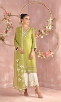 """Shirt: Pure cotton net straight silhouette shirt featuring ivory thread and mirror work all over shirt further enhanced by hand embroidery featuring dabka, stones, pearls and beads. Shirt Color: Dhani Green Shirt Length: 40""""  Culottes : Self Khaadi silk culottes with embroidered borders Culottes  Color: Ivory  Dupatta: Pure Organza net dupatta featuring ivory thread and mirror work, heavy pearls and sequins floral motifs all over finished with lace Dupatta Color: Dhani Green"""