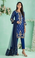 """Shirt: Self design Cotton net shirt featuring antique gold and beige dabka, sequins, beads and silk thread embroidery along with contrasting applique details Shirt Color: Blue Shirt Length: 40""""  Pant: Khaadi silk straight pants Pant Color: Blue  Dupatta: Pure chiffon dupatta with jacquard fabric borders Dupatta Color: Navy Blue"""