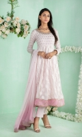 """Shirt: Pure self-design cotton net multi panel shirt featuring delicate mirror, beads, dabka, sequins, pearls and silk thread embroidery Shirt Color: Baby Pink Shirt Length: 48""""  Pant: Khaadi Silk Straight pants Pant Color: Baby Pink  Dupatta: Pure chiffon dupatta with mirror, sequins and pearls sprinkle all over finished with border and gota Dupatta Color: Baby Pink"""