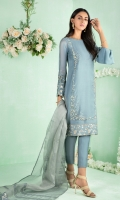 """Shirt: Cotton net shirt featuring Ivory, gold and silver dabka, crystals, sequins, beads and silk thread embroidery. Shirt Color: Blue Shirt Length: 40""""  Pant: Khaadi silk straight pants Pant Color: Blue  Dupatta: Shimmer net dupatta featuring lace and border details Dupatta Color: Blue"""