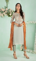 """Shirt: Pure Chiffon long shirt featuring gold and silver gota,dabka, pearls, sequins, beads and multi-color silk thread embroidery Shirt Color: Light Pistachio Green Shirt Length: 45""""  Pant: Khaadi silk straight pants Pant Color: Light Pistachio Green     Dupatta: Pure jacquard maysuri crushed dupatta finished with gota Dupatta Color: Rust"""