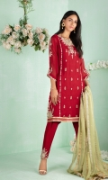 """Shirt: Cotton net shirt featuring Ivory, gold and silver dabka, crystals, sequins, beads and mirrors and silk thread embroidery. Shirt Color: Red Shirt Length: 40""""  Pant: Khaadi silk shalwar featuring embroidery details Pant Color: Red    Dupatta: Pure chiffon hand block printed dupatta finished with lace Dupatta Color: Green"""