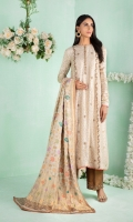 """Shirt: Self design Cotton net paneled long shirt featuring antique gold dabka, kora, sequins and contrasting silk thread embroidery, loop button details at neckline finished with chata-pati details at hem Shirt Color: Beige Shirt Length: 48""""  Pant: Brocade wide bottom pants with handwork border Pant Color: Bronze Gold  Dupatta: Pure Chiffon hand woven banarasi dupatta Dupatta Color: Beige"""
