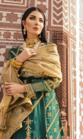 Embroidered Organza Shirt Center Panel 1 Piece Embroidered Organza Shirt Side Panels 2 Pieces Embroidered Organza Shirt Back 1 Meter Embroidered Front and Back Daman Border 1.56 Meter Organza Sleeves 0.67 Meter Embroidered Sleeves Motifs 2 Embroidered Sleeves Patti 0.67 Meter Embroidered Gold Tissue Organza Dupatta 2.5 Meter Embroidered 2 Sided Dupatta Patti 2 Meter Raw Silk Flatbeds Printed Trouser 2.5 Meter Embroidered Trouser Patti 0.67 Meter