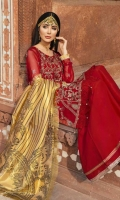 Embroidered Chiffon Shirt Center Panel 1 Piece Embroidered Chiffon Shirt Side Panels 2 Pieces Embroidered Chiffon Shirt Back 1 Meter Embroidered Front Daman Border 0.76 Meter Embroidered Front Back Daman Patti 1.56 Meter Embroidered Chiffon Sleeves 0.67 Meter Embroidered Sleeves Patti 0.67 Meter Tissue Organza FlatBeds Printed Dupatta 2.5 Meter Raw Silk Trouser 2.5 Meter Embroidered Trouser Patti 2 Meter