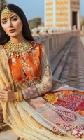 Embroidered Raw Silk Bodice 1 Meter Net for Panels 3.65 Meter Embroidered Front Daman 0.78 Meter Embroidered Back Daman Patti 0.78 Meter Net Sleeves 0.67 Meter Embroidered Sleeves Border 0.67 Meter Embroidered Sleeves Motifs 2 Pieces Crushed Tissue Organza Dupatta 2.75 Meter Embroidered 2 Sided Dupatta Patti 2 Meter Digital Printed Raw Silk Lehanga 12 Panels