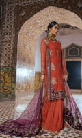 Embroidered Chiffon Shirt Front 1 Meter Embroidered Chiffon Shirt Front 1 Meter Embroidered Front Border 0.78 Meter Embroidered Front Right Side Patti 0.92 Meter Embroidered Front Left Side Patti 0.92 Meter Embroidered Chiffon Sleeves 0.76M Embroidered Organza Dupatta 2.5 Meter Embroidered Motifs Dupatta 4 Pieces Raw Silk Trouser 2.5 Meter