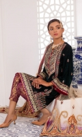Embroidered Velvet Front Embroidered Velvet Back Embroidered Velvet Sleeves Embroidered Net Dupatta Jamawar Trouser
