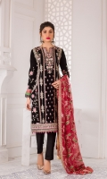 Embroidered Velvet Front Embroidered Velvet Back Embroidered Velvet Sleeves Embroidered Chiffon Dupatta Raw Silk Trouser