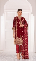 Embroidered Velvet Front Embroidered Velvet Back Embroidered Velvet Sleeves Embroidered Chiffon Dupatta Jamawar Trouser
