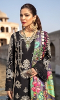 SHIRT  EMBROIDERED SHIRT FRONT (LAWN) 1.15M  EMBROIDERED SLEEVES ON FABRIC (LAWN) 0.65M  DYED SHIRT BACK (LAWN) 1.15M  EMBROIDERED FRONT HEM BORDER (ORGANZA) 1.00M  EMBROIDERED BORDER (ORGANZA) 1.00M     TROUSER DYED TROUSER (LAWN) 2.50M  EMBROIDERED TROUSER BORDER (ORGANZA) 1.00M     DUPATTA DIGITAL PRINTED DUPATTA (MEDIUM SILK) 2.50M