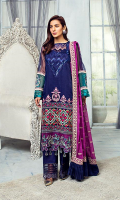 Embroidered organza for front: 1 yard  Embroidered organza for back: 1 yard  Embroidered organza motifs for sleeves: 2 pcs  Plain organza for sleeves: 0.75 yard  Embroidered chiffon dupatta: 2.75 yard  Embroidered organza borders for front and back: 2 yard  Embroidered organza sleeves border: 2 yard  Embroidered organza trouser border: 1 yard  Dyed raw silk for trouser: 2.50 yard