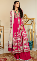 Embroidered chiffon for front and back yoke: 0.75 yard  Embroidered chiffon for sleeves : 0.75 yard  Embroidered chiffon for back: 1.5 yard  Embroidered chiffon left right panels: 6 pcs  Embroidered organza front border:  5 yard  Embroidered organza center patti + sleeve patti : 4 yard  Embroidered organza back border: 1.5 yard  Embroidered organza dupatta border: 2.5 yard  Dyed Raw silk for trouser: 2.5 yard  Cotton net dupatta : 2.75 yard