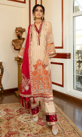 Embroidered chiffon for front: 1 yard  Embroidered chiffon center panel for back: 1 pcs  Embroidered organza front border: 1 pcs  Embroidered organza front back border: 2 yard  Embroidered chiffon for sleeves: 0.75 yard  Embroidered organza for sleeves border: 2 yard  Embroidered organza for sleeves Patti + neckline patti : 2.5 yard  Embroidered trouser patti: 1.5 yard  Embroidered organza dupatta Patti: 8.5 yard  Embroidered organza motifs for dupatta: 4 pcs  Dyed raw silk for trouser: 2.50 yard