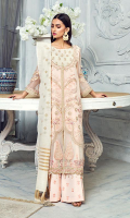 """Embroidered chiffon left right panels with handmade embellishment for front: 1 yard  Embroidered organza for neck : 1 pcs 6""""  Embroidered chiffon for back: 1 yard  Embroidered chiffon for sleeves: 0.75 yard  Embroidered organza left right border with handmade embellishment for front: 2 pcs  Embroidered organza for front border: 1 yard  Embroidered organza for back border: 1 yard  Embroidered organza patti for center: 2 yard  Embroidered organza for sleeve patti: 1 yard  Embroidered Raw silk trouser: 2.50 yard  Embroidered cotton net dupatta: 2.75 yard"""