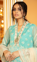 Embroidered chiffon for front: 1 yard  Embroidered chiffon for back: 1 yard  Embroidered chiffon for sleeves:0.75 yard  Embroidered chiffon dupatta: 2.75yard  Embroidered trouser border: 1 yard  Embroidered neck patti with handmade embellishment: 1 yard  Embroidered organza front + sleeves border: 2 yard  Embroidered organza back border: 1 yard  Dyed raw silk for trouser: 2.50 yard