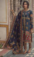 Embroidered front on digital printed cutail  Embroidered border on organza for front  Embroidered sleeves on digital printed cutail  Digital printed back  Digital printed trouser  Embroidered pashmina shawl  4 embroidered patches on organza for shawl