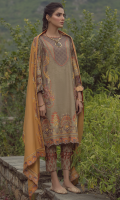 Embroidered front on digital printed cutail  Embroidered border on organza for front  Embroidered sleeves on digital printed cutail  Digital printed back  Digital printed trouser  Embroidered pashmina shawl