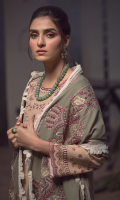 Embroidered front on khaddar karandi  Embroidered border on organza for front  Embroidered sleeves on khaddar karandi  Dyed khaddar karandi trouser  Embroidered pashmina shawl