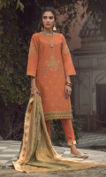 Embroidered front on khaddar karandi  Embroidered border on organza for hem  Embroidered sleeves on khaddar karandi  Dyed khaddar karandi back with embroidered border  Dyed khaddar karandi trouser  Embroidered pashmina shawl