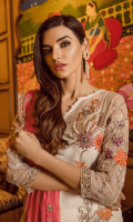 Embroidered chiffon for front: 1 yard  Embroidered organza motif with handmade embellishment for neck patch: 1pcs  Embroidered organza border for front: 1 yard  Embroidered chiffon for back: 1 yard  Embroidered organza border for back: 1 yard  Embroidered chiffon for sleeves: 0.75 yard  Embroidered organza border for sleeves: 1 yard  Embroidered chiffon for dupatta: 2.75 yards  Raw silk for trousers: 2.50 yards  Embroidered organza for trouser: 2 yards