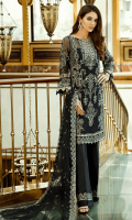 Embroidered chiffon for front: 1 yard  Embroidered organza border for front: 1 yard  Embroidered chiffon for back: 1 yard  Embroidered organza motif for back neck patch: 1 pcs  Embroidered organza border for back: 1 yard  Embroidered chiffon for sleeves: 0.75 yard  Embroidered chiffon for dupatta: 2.75 yards  Raw silk for trousers: 2.50 yards  Embroidered organza border for trousers: 1 yard