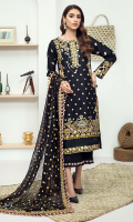 Embroidered karandi front  Embroidered border for karandi back  Embroidered karandi sleeves  Embroidered chiffon dupatta  Embrodered karandi trouser